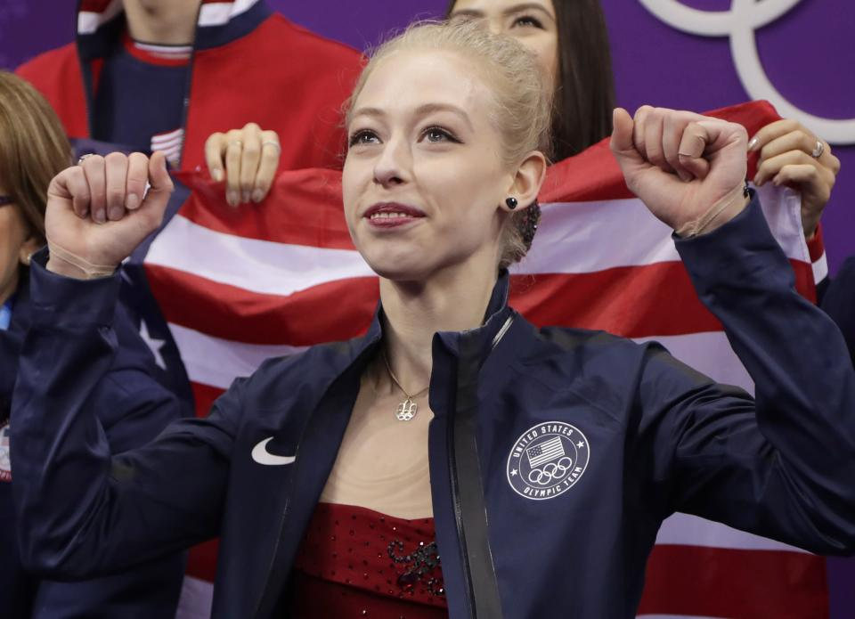 Bradie Tennell reacts to scores after her debut performance at the 2018 Winter Olympics. (AP)
