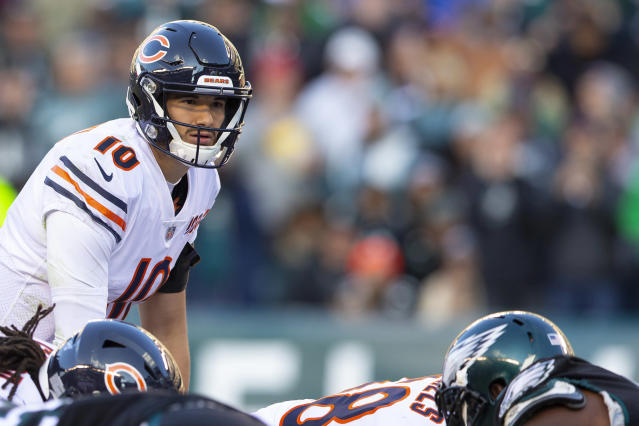 Though it's been a rough stretch for Mitch Trubisky and the Bears, Lions coach Matt Patricia isn't overlooking the Chicago quarterback. (Mitchell Leff/Getty Images)