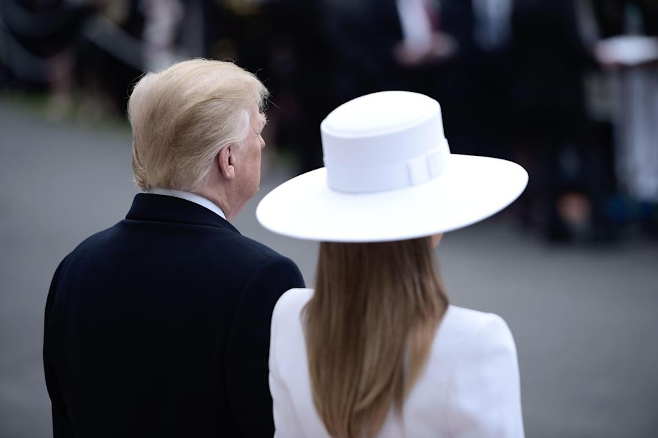 The first lady's hat from the back. (Photo: Brendan Smialowski/AFP/Getty Images)