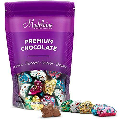 """<p><strong>The Madelaine Chocolate Company</strong></p><p>amazon.com</p><p><strong>$16.95</strong></p><p><a href=""""https://www.amazon.com/dp/B00TR17ZWY?tag=syn-yahoo-20&ascsubtag=%5Bartid%7C10072.g.35448928%5Bsrc%7Cyahoo-us"""" rel=""""nofollow noopener"""" target=""""_blank"""" data-ylk=""""slk:SHOP NOW"""" class=""""link rapid-noclick-resp"""">SHOP NOW</a></p><p>Individually wrapped in colorful decorative foils, this tasty treat marries two of the most popular Easter basket items: bunnies and chocolate candy. </p>"""
