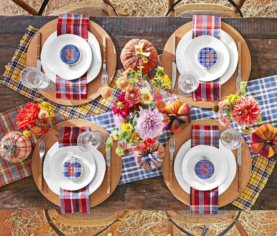 "<p>Layer a variety of plaid fabrics and accessories on top of your farmhouse table for the perfect backdrop to your casual family dinners all fall long! </p><p><a class=""link rapid-noclick-resp"" href=""https://www.amazon.com/BETTERLINE-Oversized-Farmhouse-Christmas-Thanksgiving/dp/B07VWSB114/?tag=syn-yahoo-20&ascsubtag=%5Bartid%7C10050.g.2633%5Bsrc%7Cyahoo-us"" rel=""nofollow noopener"" target=""_blank"" data-ylk=""slk:SHOP PLAID NAPKINS"">SHOP PLAID NAPKINS</a></p>"