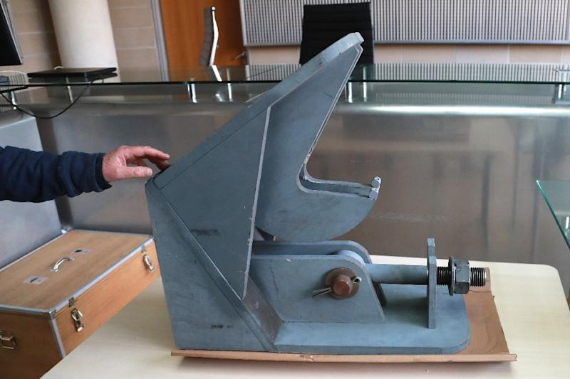 Objets such as the heavy weather manual lock from the ferry will be presented as evidence in the Nanterre courthouse (AFP Photo/JACQUES DEMARTHON)