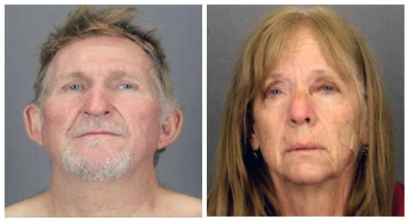 These undated combination booking photos provided by the Tucson Police Department show 56-year-old Blake Barksdale, left, and his 59-year-old wife Susan Barksdale. The couple suspected in a Tucson murder have escaped after overpowering two security guards while being extradited from New York to Arizona, authorities said Tuesday, Aug. 27, 2019. (Tucson Police Department via AP)