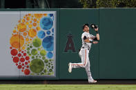 San Francisco Giants centerfielder Mauricio Dubon makes a catch on a line drive from Los Angeles Angels' Luis Rengifo during the seventh inning of a baseball game Tuesday, June 22, 2021, in Anaheim, Calif. (AP Photo/Marcio Jose Sanchez)