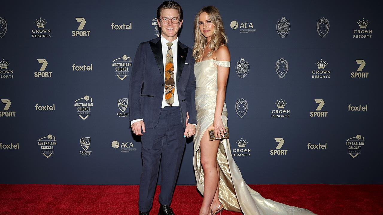 Adam Zampa and fiance Harriet Palmer. (Photo by Graham Denholm/Getty Images)