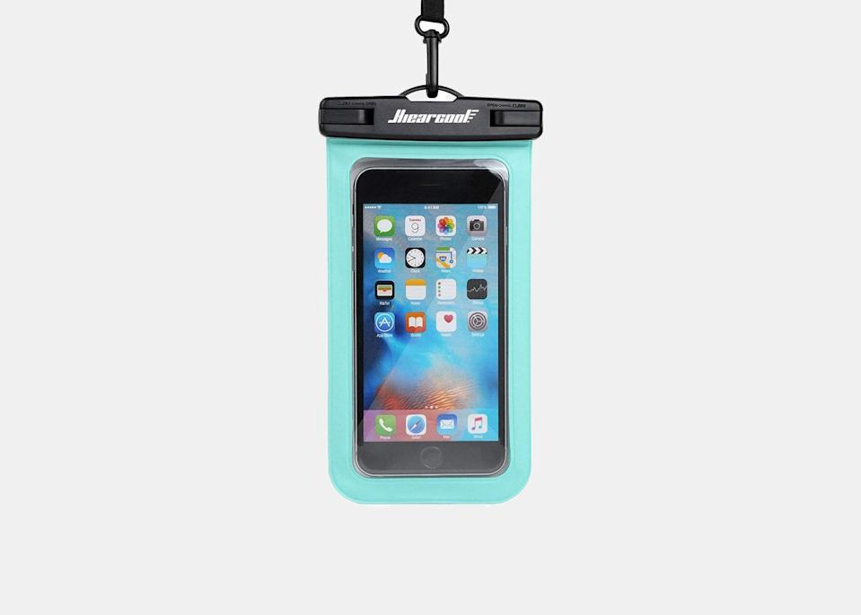 """A tiny investment will help protect your smartphone against all the uncertainty that the beach may offer. Alyson Seligman, a Palm Beach Gardens, Florida, single mom to an 7- and 11-year-old and creator of blog <a href=""""https://themodernsavvy.com/"""" rel=""""nofollow noopener"""" target=""""_blank"""" data-ylk=""""slk:The Modern Savvy"""" class=""""link rapid-noclick-resp"""">The Modern Savvy</a>, says she discovered the benefit of this waterproof phone pouch during a paddleboarding trip and hasn't looked back since. """"It's perfect to keep your phone in while at the beach, kayaking, and other <a href=""""https://www.cntraveler.com/gallery/best-waterproof-gear?mbid=synd_yahoo_rss"""" rel=""""nofollow noopener"""" target=""""_blank"""" data-ylk=""""slk:outdoor adventures"""" class=""""link rapid-noclick-resp"""">outdoor adventures</a>,"""" she says. $10, Amazon. <a href=""""https://www.amazon.com/Universal-Waterproof-Case-Cellphone-Samsung/dp/B079HV3TC9"""" rel=""""nofollow noopener"""" target=""""_blank"""" data-ylk=""""slk:Get it now!"""" class=""""link rapid-noclick-resp"""">Get it now!</a>"""