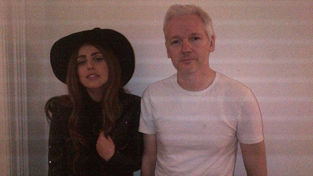 Lady Gaga Dresses Like a Witch to Meet Julian Assange