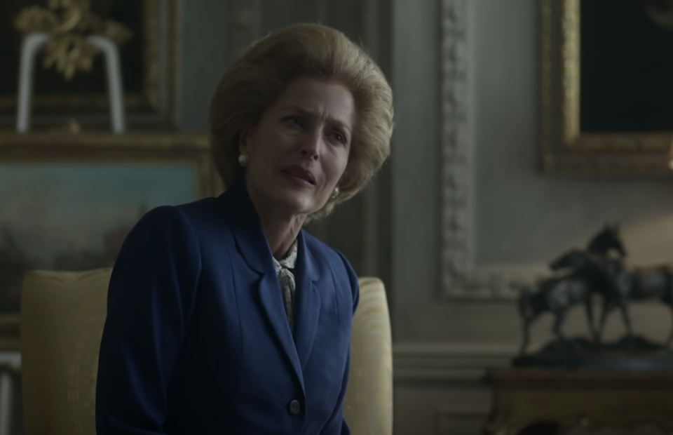 Tory MPs criticised the show's creators over their depiction of Mrs Thatcher. (Netflix/YouTube)
