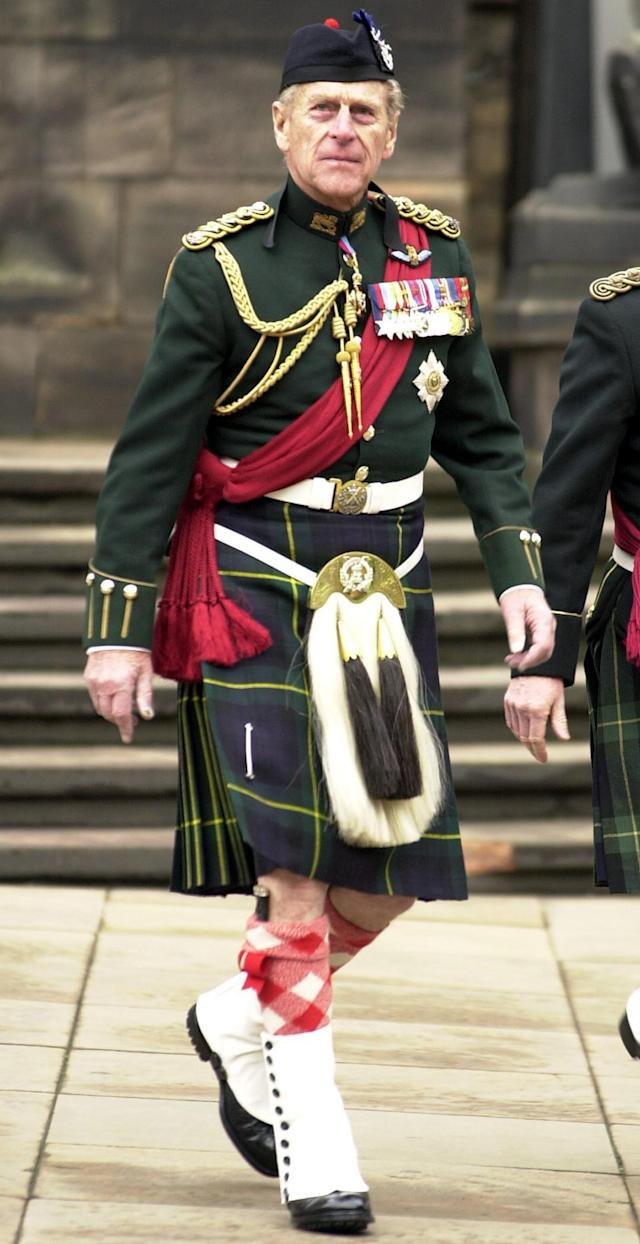 The Duke of Edinburgh as he arrived at the laying up of the Colours of the Queen's Own Highlanders in 2003. (PA Images)