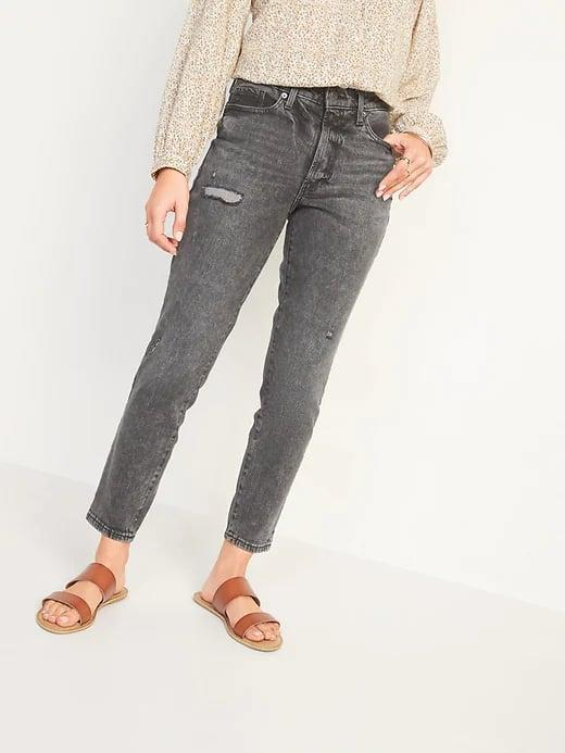 <p>These <span>Old Navy High-Waisted O.G. Straight Ripped Black Ankle Jeans</span> ($40) are the perfect acid-washed shade with frayed rips to help them pass for <em>actual</em> vintage denim.</p>