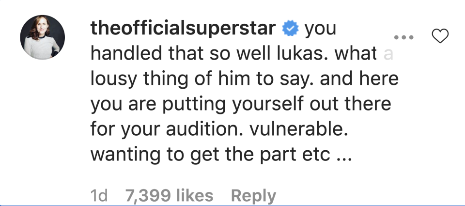 "Molly Shannon defended Lukas Gage after a director slammed the actor for being ""poor."" (Screenshot: Instagram/The Official Superstar)"