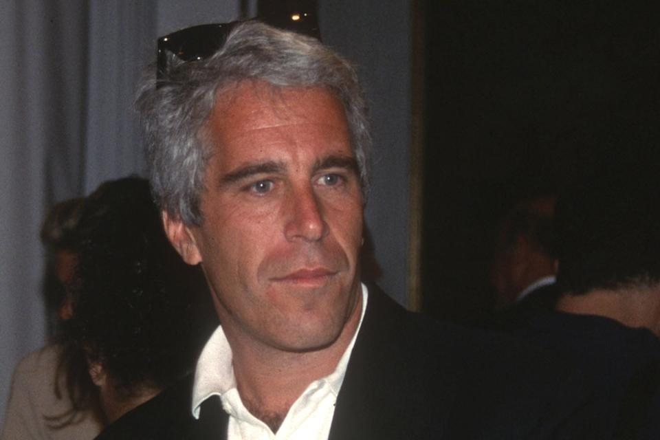 NEW YORK, NY - AUGUST 1: Guest and Jeffrey Epstein attend the Victoria's Secret Fashion Show at the Plaza Hotel on August 1, 1995 in New York City. (Photo by Patrick McMullan/Patrick McMullan via Getty Images)