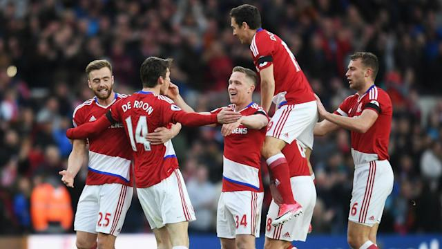 Sunderland are on the brink of relegation after Marten de Roon consigned them to defeat, but Middlesbrough have some hope.