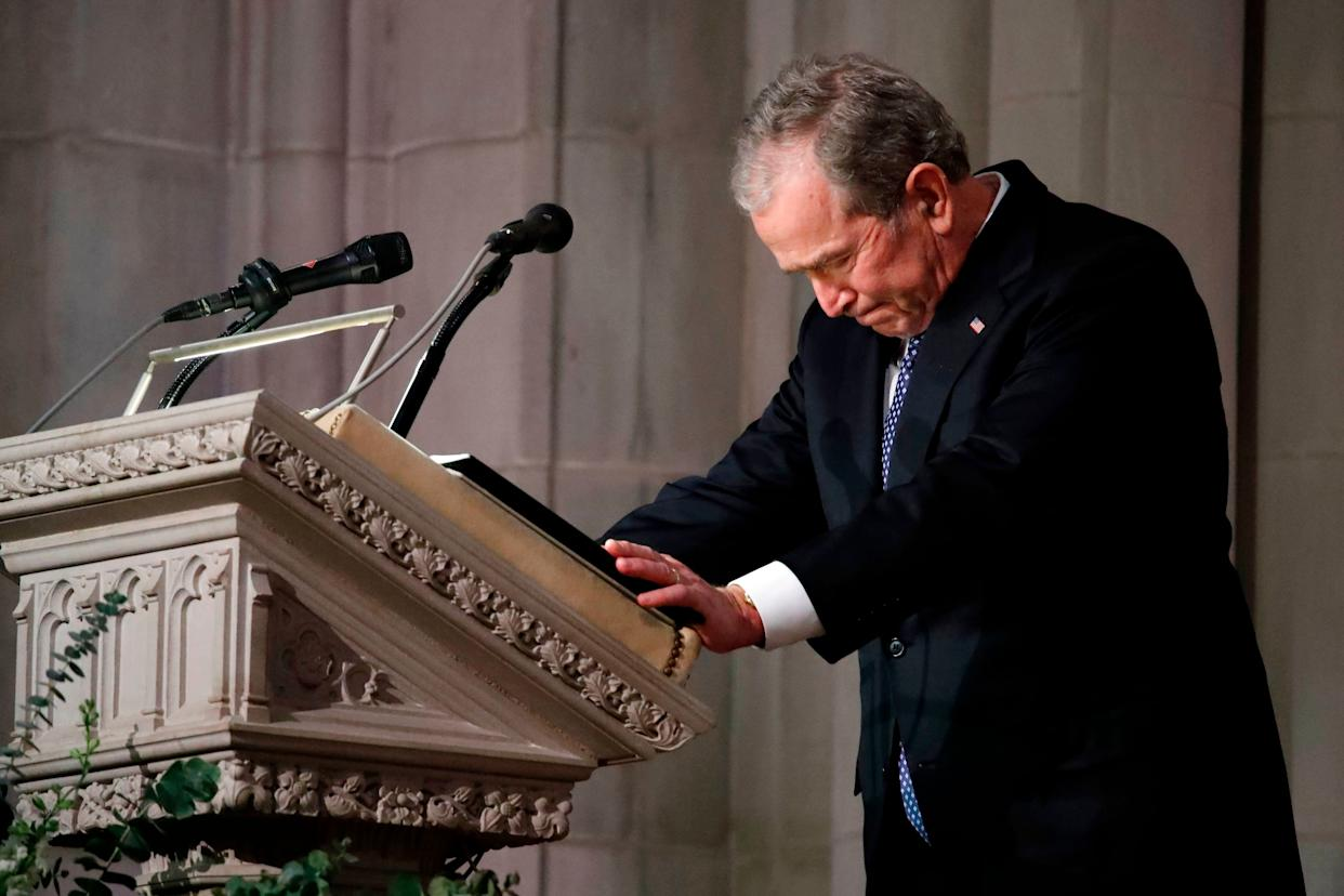 Former US President George W. Bush speaks at the State Funeral for his father, former US President George H.W. Bush.