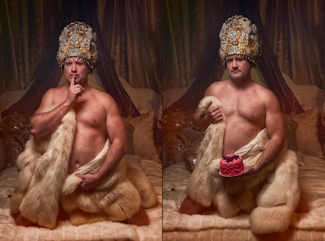 "This groom posed for a hilariously sexy photo shoot for his bride-to-be. <br>(Photo: Courtesy of <a href=""http://michaelnovophotography.com/"" rel=""nofollow noopener"" target=""_blank"" data-ylk=""slk:Michael Novo Photography"" class=""link rapid-noclick-resp"">Michael Novo Photography</a>)"