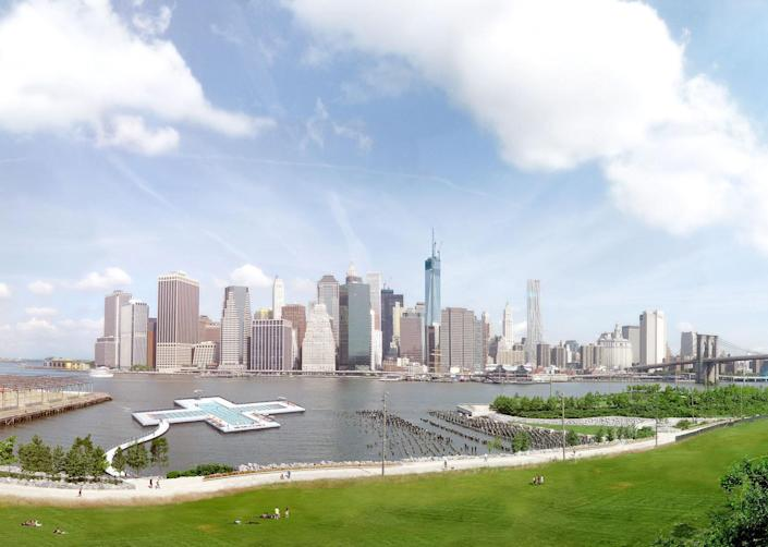 The pool will be located just north of the Manhattan Bridge.