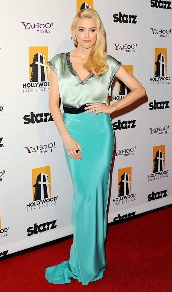 """<a href=""""http://movies.yahoo.com/movie/contributor/1809059761"""">Amber Heard</a> at the 15th Annual Hollywood Film Awards in Beverly Hills, California on October 24, 2011."""