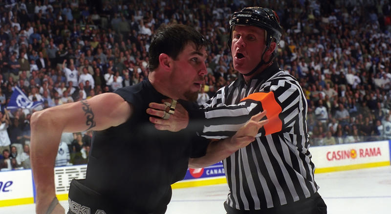It appears Matthew Barnaby, seen here in a file photo from 1999 after a tussle while playing for the Pittsburgh Penguins, used the experience gained from the 192 fights throughout his NHL career while in Nashville early Thursday morning. (Photo by Graig Abel/Getty Images)