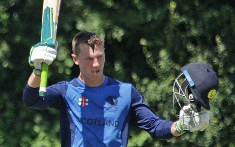 Angus Guy scores a century against France in age-group cricket.