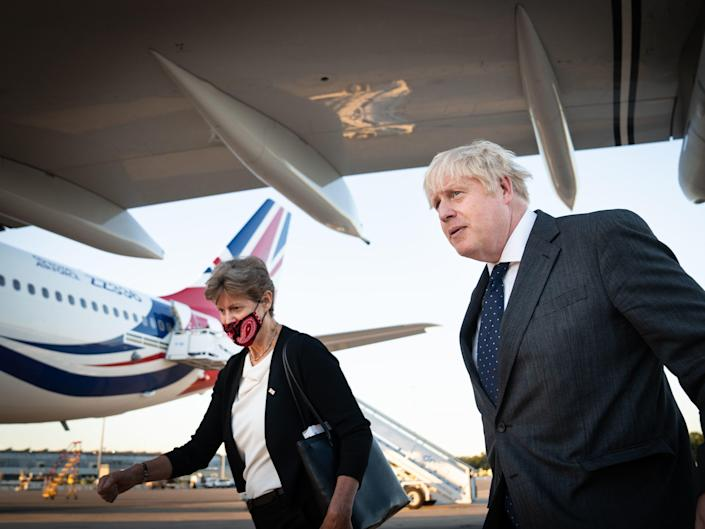 Boris Johnson arriving in New York for the United Nations General Assembly - UK Air Force One