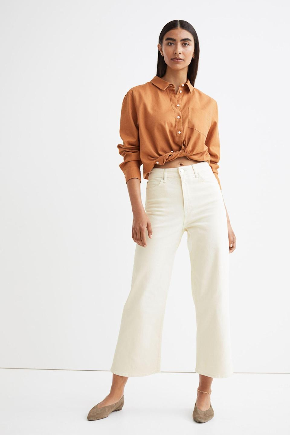 <p>These <span>H&amp;M Wide High Ankle Jeans</span> ($31, originally $35) are perfect for summer. We like the wide leg and breezy color of the denim.</p>