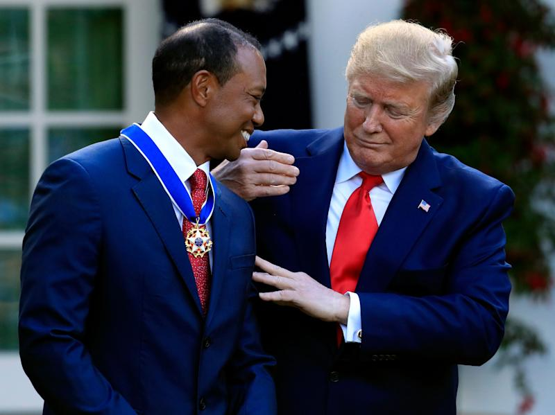 President Donald Trump awarded Tiger Woods with the Presidential Medal of Freedom on Monday. (AP)