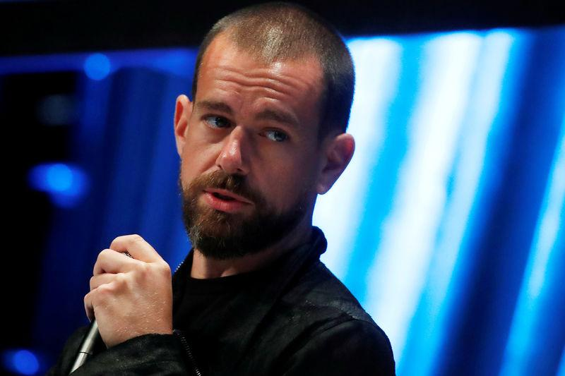 FILE PHOTO: Jack Dorsey, CEO and co-founder of Twitter and founder and CEO of Square, speaks at the Consensus 2018 blockchain technology conference in New York City