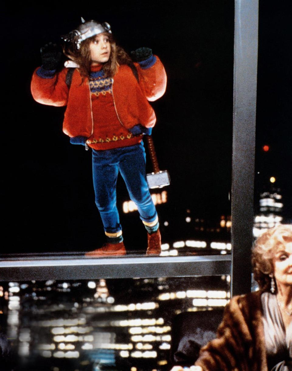 <ul> <li><strong>What to wear:</strong> A thick red sweater, blue pants, red sneakers, under a red and blue jacket. Top it all off with a Thor helmet and hammer.</li> </ul>