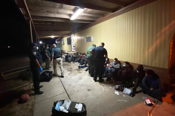 IMAGE: Pharr police respond to a call from a man who'd escaped from a stash house (Courtesy Pharr Police Department)