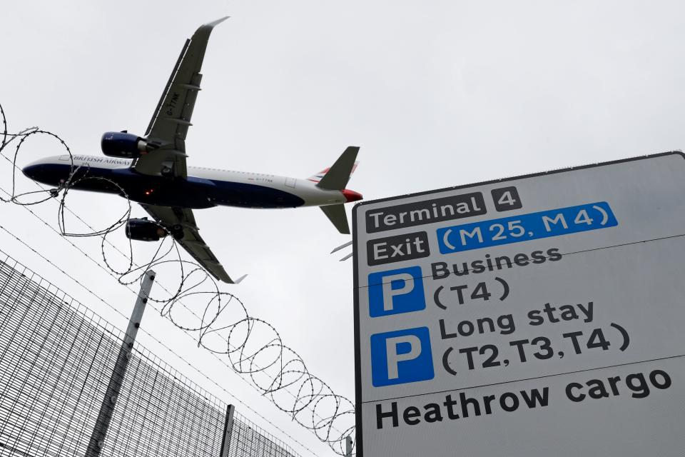 A British Airways passenger jet comes in to land at London Heathrow Airport in west London, on May 10, 2020. - Britain could introduce a 14-day mandatory quarantine for international arrivals to stem the spread of coronavirus as part of its plan to ease the lockdown, an airline association said Saturday, May 9 sparking alarm in an industry already badly hit by the global pandemic. (Photo by Adrian DENNIS / AFP) (Photo by ADRIAN DENNIS/AFP via Getty Images)
