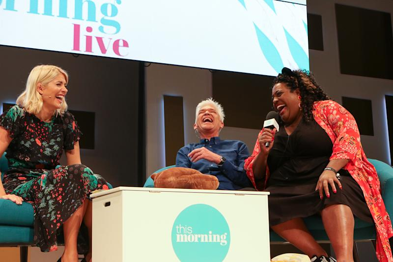 Presenters Holly Willoughby, Phillip Schofield and Alison Hammond at 'This Morning Live', at Birmingham NEC. (Photo by Tim Roney/Getty Images)