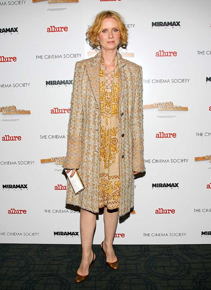 """Cynthia Nixon supports her """"Sex and the City"""" costar by showing up at the celeb-infused fete. Unfortunately, her ensemble is far from fabulous. Jason Kempin/<a href=""""http://www.wireimage.com"""" target=""""new"""">WireImage.com</a> - March 31, 2008"""
