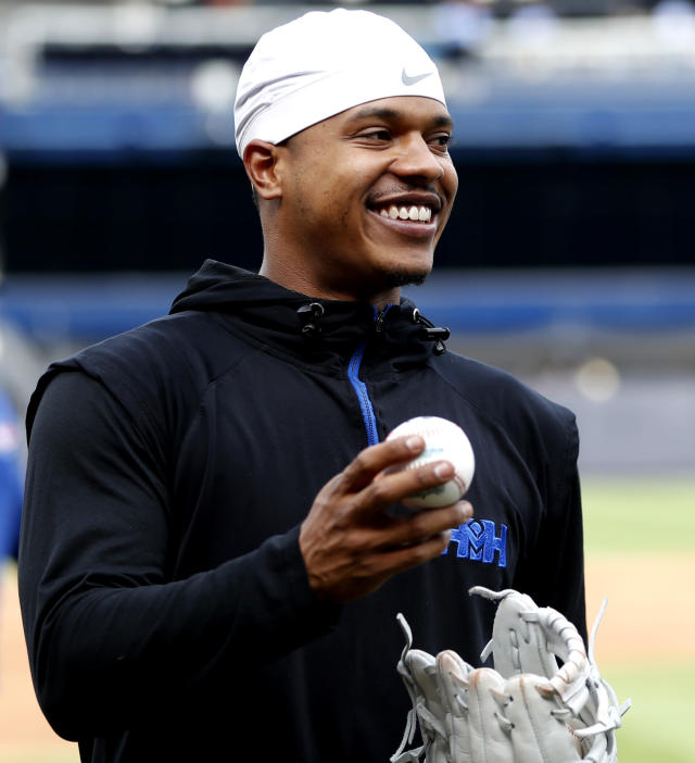 "Toronto Blue Jays starting pitcher Marcus Stroman smiles on the field as he warms up before a baseball game against the New York Yankees, Monday, June 24, 2019, in New York. Stroman realizes he may soon be traded, and he would not mind closing out the year in pinstripes. The right-hander is from Long Island and says he loves pitching at Yankee Stadium, calling New York the ""Mecca of the world."" (AP Photo/Kathy Willens)"