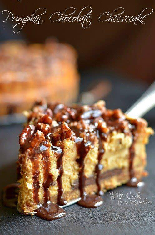 """Pecans, chocolate, pumpkins covered in a gooey, dripping sauce. We love this completely decadent finish to a meal. <a href=""""http://www.willcookforsmiles.com/2013/09/chocolate-pumpkin-cheesecake.html"""" rel=""""nofollow noopener"""" target=""""_blank"""" data-ylk=""""slk:Find the recipe at Will Cook For Smiles"""" class=""""link rapid-noclick-resp"""">Find the recipe at Will Cook For Smiles</a>."""