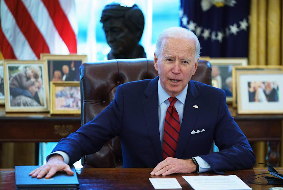 """In remarks to the Martin Luther and Coretta Scott King Unity Breakfast, President Joe Biden warned of an """"all-out assault on the right to vote"""" by Republican lawmakers. (Photo: MANDEL NGAN via Getty Images)"""