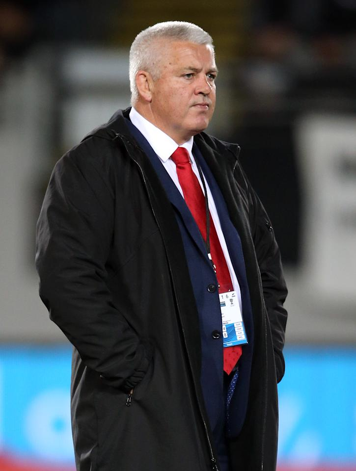In this photo taken on June 11, 2016, Wales' rugby coach Warren Gatland looks on prior to the rugby Test match between the New Zealand All Blacks and Wales at Eden Park in Auckland. Wales is seeking to end a 63-year losing streak against New Zealand at Wellington's Westpac Stadium on June 18. (AFP Photo/MICHAEL BRADLEY)