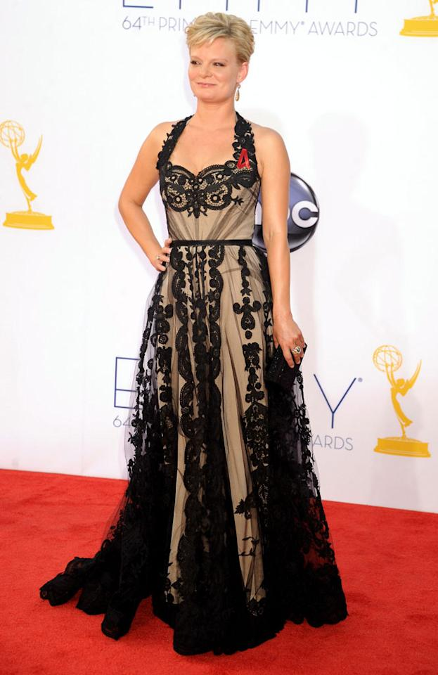 Martha Plimpton arrives at the 64th Primetime Emmy Awards at the Nokia Theatre in Los Angeles on September 23, 2012.