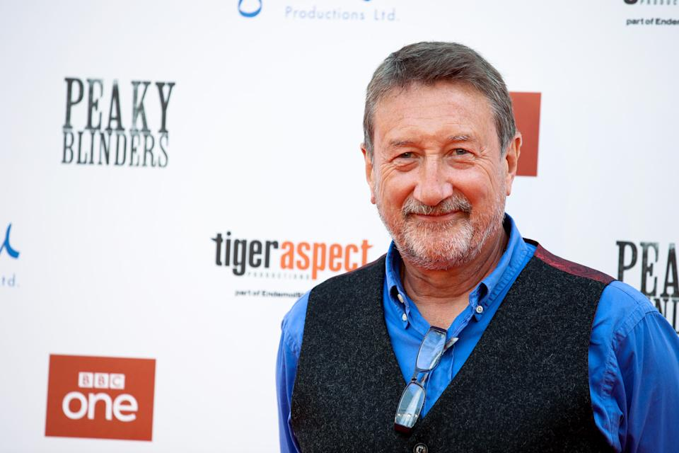 """BIRMINGHAM, ENGLAND - JULY 18:  Steven Knight attends the premiere of the 5th season of """"Peaky Blinders"""" at Birmingham Town Hall on July 18, 2019 in Birmingham, England. (Photo by Mike Marsland/WireImage)"""