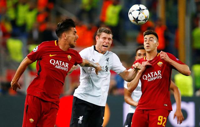 Soccer Football - Champions League Semi Final Second Leg - AS Roma v Liverpool - Stadio Olimpico, Rome, Italy - May 2, 2018 Roma's Lorenzo Pellegrini and Stephan El Shaarawy in action with Liverpool's James Milner REUTERS/Tony Gentile