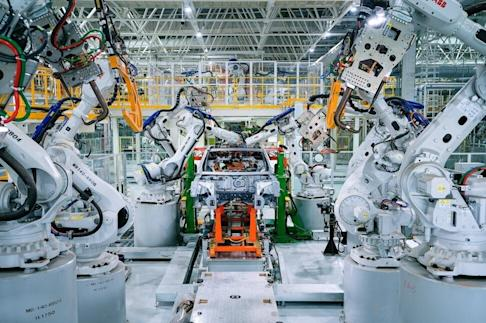 Xpeng's new factory touts 100 per cent automation for installation of car bodies at its welding workshops, with over 200 robotic arms. Photo: SCMP Handout