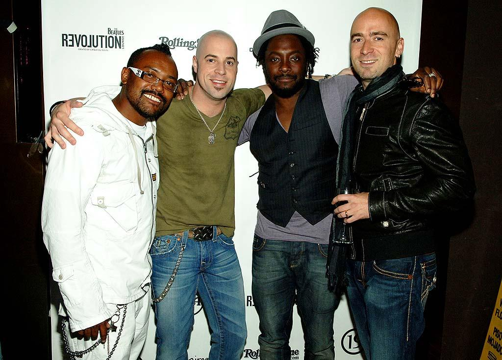 "Chris Daughtry poses with apl.de.ap and will.i.am of The Black Eyed Peas and Live's Ed Kowalczyk before performing a live acoustic set with his band at The Beatles Revolution Lounge in Las Vegas. Denise Truscello/<a href=""http://www.wireimage.com"" target=""new"">WireImage.com</a> - April 13, 2008"