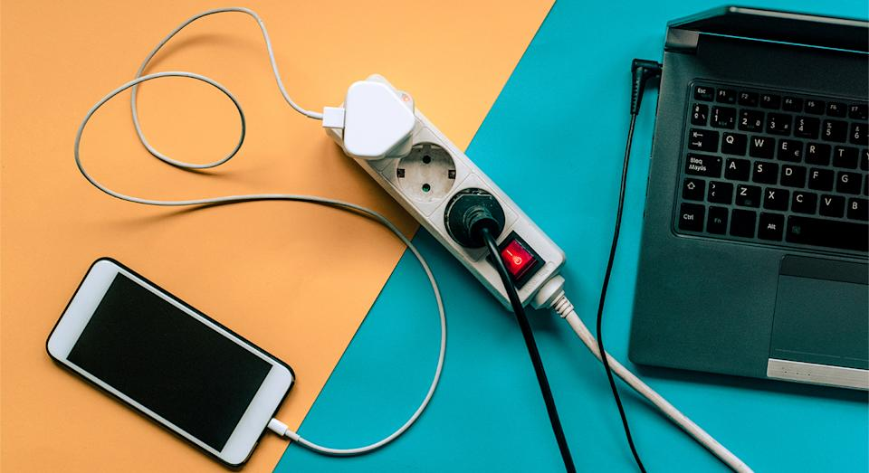 Declutter your WFH set-up with an extension lead that can hold up to eight plugs and has an additional four USB ports.  (Getty Images)