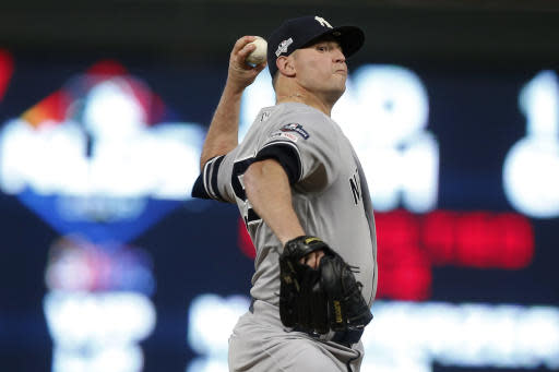 New York Yankees relief pitcher Zack Britton throws during the seventh inning in Game 3 of a baseball American League Division Series against the Minnesota Twins, Monday, Oct. 7, 2019, in Minneapolis. (AP Photo/Jim Mone)