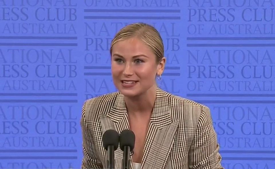 Grace Tame at the National Press Club. Source: ABC
