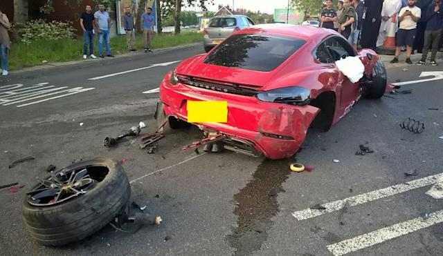 The Porsche's wheel was detached from the car. (SWNS)