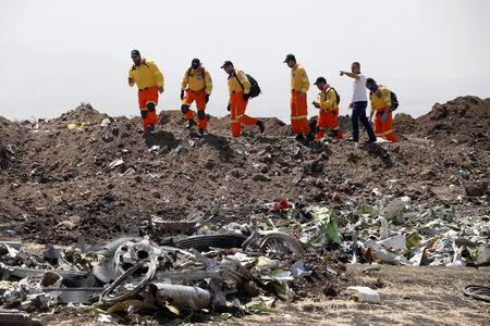 Volunteers of Israeli rescue and recovery organisation ZAKA search for remains of Ethiopian Airlines Flight ET 302 plane crash victims at the scene of a plane crash, near the town of Bishoftu