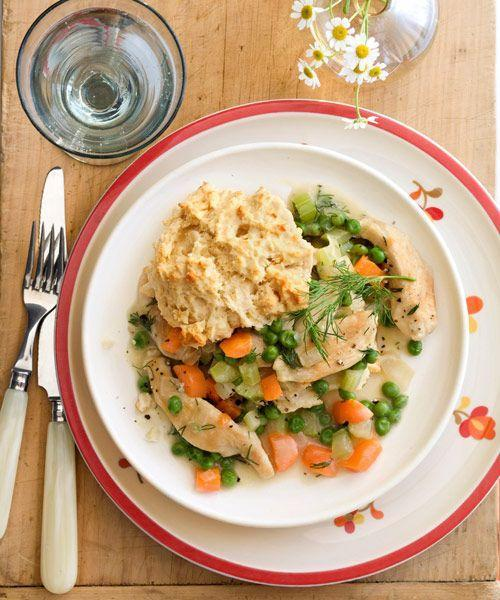 """<p>This flavorful stew-like dish is a low-effort interpretation of a pot pie thanks to the sub of a pie crust with hearty biscuits instead.<br></p><p><em><a href=""""https://www.goodhousekeeping.com/food-recipes/a8166/spring-chicken-biscuits-recipe/"""" rel=""""nofollow noopener"""" target=""""_blank"""" data-ylk=""""slk:Get the recipe for Spring Chicken and Biscuits »"""" class=""""link rapid-noclick-resp"""">Get the recipe for Spring Chicken and Biscuits »</a></em></p>"""