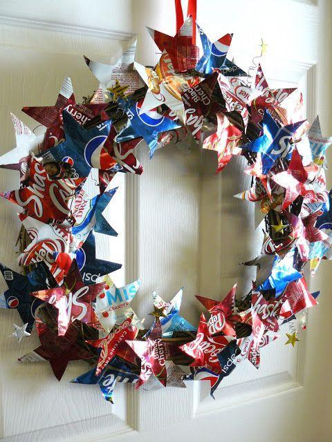 """<p>Cut out stars from classic soda cans to create this unique 4th of July wreath that features a few all-American traditions.</p><p><strong>Get the tutorial at <a href=""""http://smallfryandco.blogspot.com/2013/05/patriotic-pop-can-wreath.html"""" rel=""""nofollow noopener"""" target=""""_blank"""" data-ylk=""""slk:Small Fry & Co"""" class=""""link rapid-noclick-resp"""">Small Fry & Co</a>.</strong></p><p><strong><a class=""""link rapid-noclick-resp"""" href=""""https://www.amazon.com/Coca-Cola-Soft-Drink-Variety-Pack/dp/B07QKN2ZT9?ref_=ast_sto_dp&th=1&psc=1&tag=syn-yahoo-20&ascsubtag=%5Bartid%7C10050.g.4464%5Bsrc%7Cyahoo-us"""" rel=""""nofollow noopener"""" target=""""_blank"""" data-ylk=""""slk:SHOP SODA CANS"""">SHOP SODA CANS</a></strong></p>"""