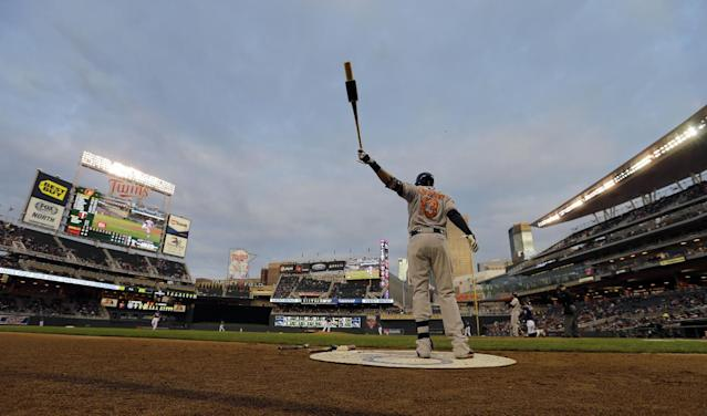 Baltimore Orioles' Manny Machado warms up as he waits for his turn at bat during the third inning of a baseball game against the Minnesota Twins in Minneapolis, Friday, May 2, 2014. (AP Photo/Ann Heisenfelt)