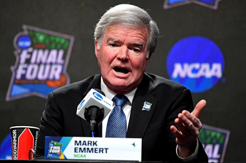 NCAA president Mark Emmert speaks during a news conference at U.S. Bank Stadium. (Robert Deutsch/USAT Sports)
